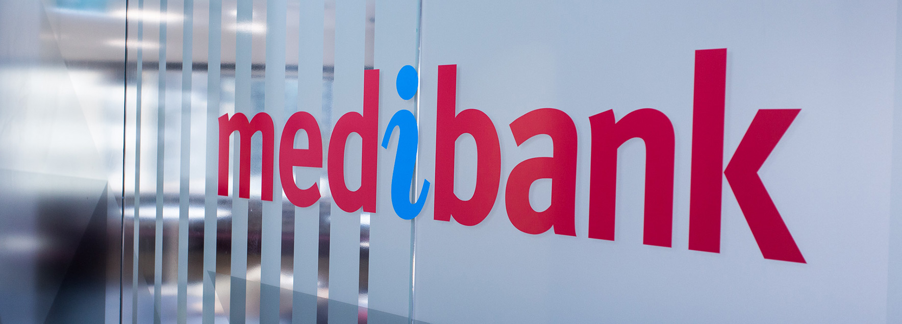 medibank logo on glass